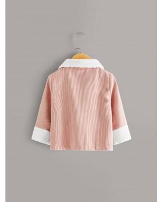 Toddler Girls Contrast Shearling Rib-knit Corduroy Jacket