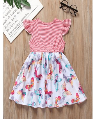 Toddler Girls Butterfly Print Stripe Dress
