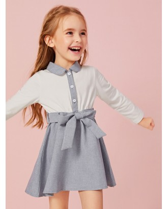 Toddler Girls Contrast Collar Colorblock Belt Dress
