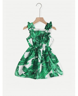 Toddler Girl Tropical Print Zip Back Dress