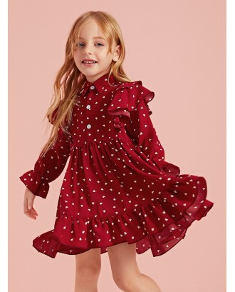 Toddler Girls Confetti Heart Print Ruffle Shirt Dress