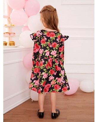 Toddler Girls Allover Floral Print Ruffle Swing Dress