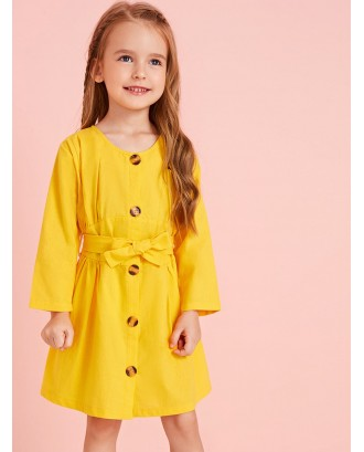 Toddler Girls Button Front Self Tie Shirt Dress