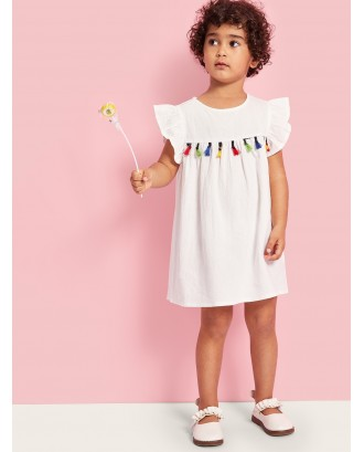 Toddler Girls Colorful Tassel Ruffle Armhole Dress