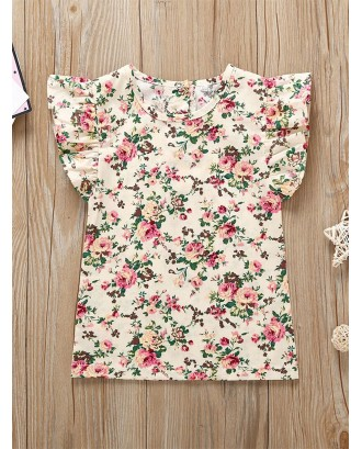 Toddler Girls Ditsy Floral Ruffle Sleeve Blouse