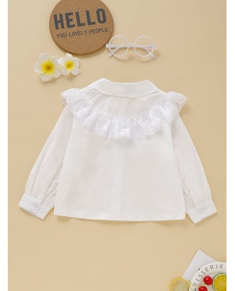 Toddler Girls Contrast Lace Ruffle Solid Blouse