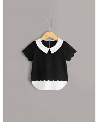 Toddler Girls Contrast Collar Scallop Trim Blouse