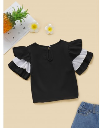 Toddler Girls Contrast Panel Layered Sleeve Blouse