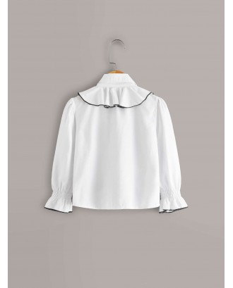 Toddler Girls Contrast Binding Ruffle Trim Blouse