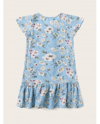 Toddler Girls Ditsy Floral Button Through Peplum Blouse