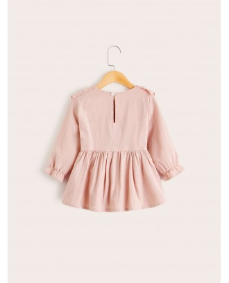 Toddler Girl Ruffle Trim Button Back Blouse