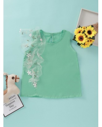 Toddler Girls Contrast Mesh Floral Embroidery Blouse