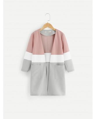 Girls Color-Block Pocket Front Coat