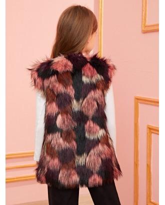 Girls Colorful Faux Fur Vest Coat