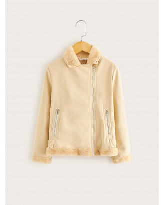 Girls Asymmetric Zip Placket Faux Shearling Jacket