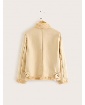 Girls Asymmetric Zip Placket Faux Shearling Jacket