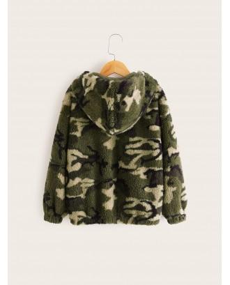Girls Camo Print Zipper Up Hooded Teddy Jacket