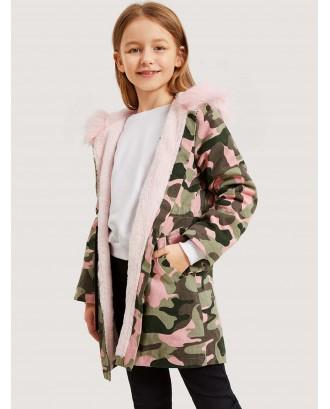 Girls Camo Drawstring Waist Parka Coat