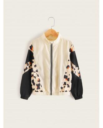 Girls Colorblock Leopard Print Jacket
