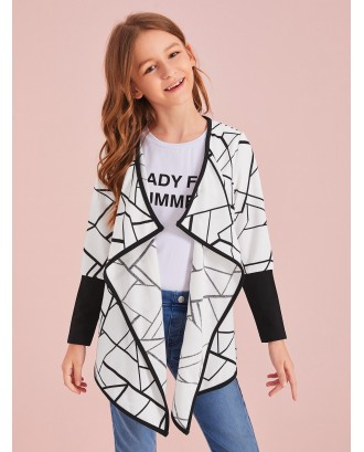 Girls Contrast Binding Geo Print Waterfall Coat