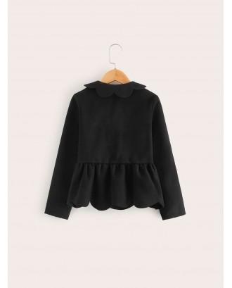 Girls Button Front Scalloped Ruffle Hem Coat