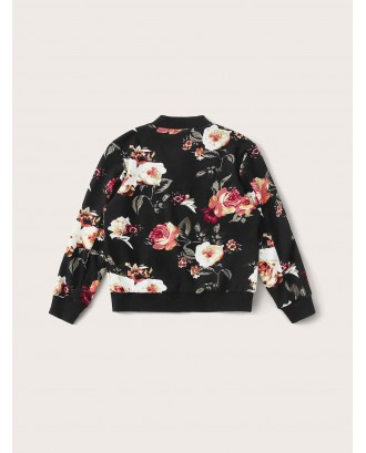 Girls Botanical Print Zip Up Bomber Jacket