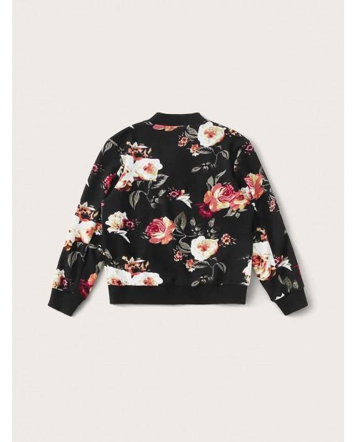 Girls Botanical Print Zip Up Bomber Jacket
