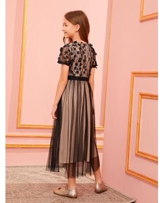 Girls 3D Appliques Mesh Overlay Dress