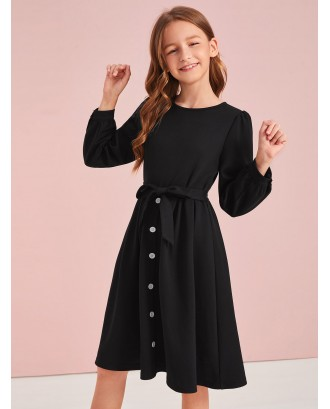 Girls Button Front Belted Dress