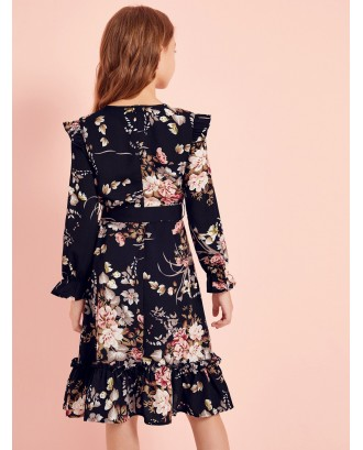 Girls Botanical Print Ruffle Trim Self Belted Dress