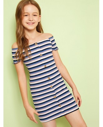Girls Button Front Rib-knit Bardot Striped Dress