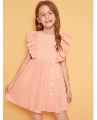 Girls Button Front Ruffle Armhole Solid Dress