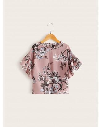 Girls Floral Print Flounce Sleeve Top