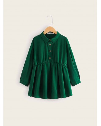 Girls Button Front Ruffle Hem Blouse