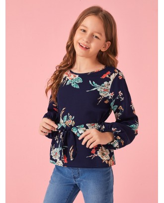 Girls Botanical Print Lantern Sleeve Self Belted Top