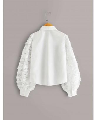 Girls Embroidery Mesh Lantern Sleeve Blouse
