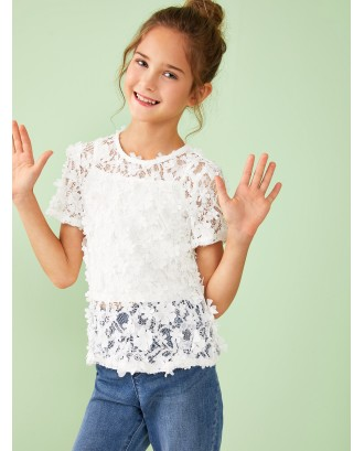 Girls Flower Applique Lace Top With Cami