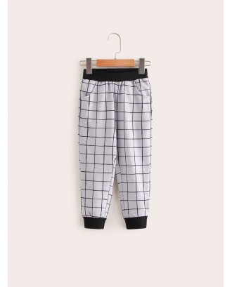 Toddler Boys Contrast Panel Grid Plaid Sweatpants