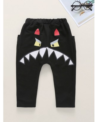 Toddler Boys Cartoon Print Slant Pockets Pants