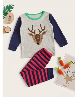 Toddler Boys Cartoon Deer Print PJ Set