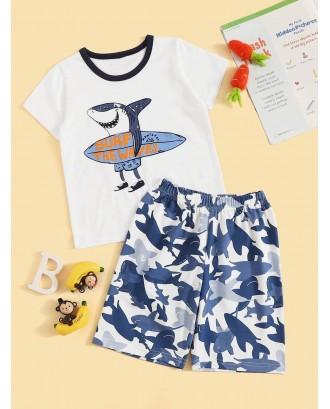 Toddler Boys Shark Print Pajama Set