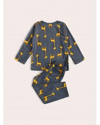 Toddler Boys Cartoon Giraffe Print PJ Set