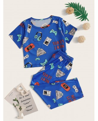 Toddler Boys Cartoon Print Pajama Set