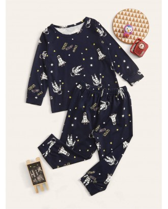 Toddler Boys Figure & Galaxy Print PJ Set