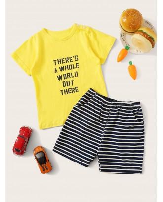 Toddler Boys Letter Print Striped Pajama Set