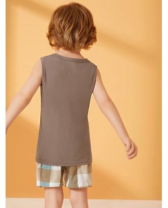 Toddler Boys Plaid Pajama Set