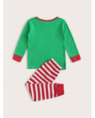 Toddler Boys Cartoon Santa Claus Print PJ Set