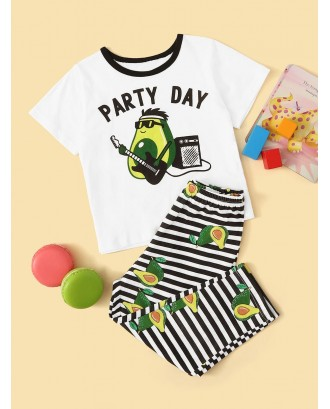 Toddler Boys Avocado Print Striped PJ Set