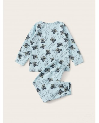 Toddler Boys Bear & Letter Print Pajama Set
