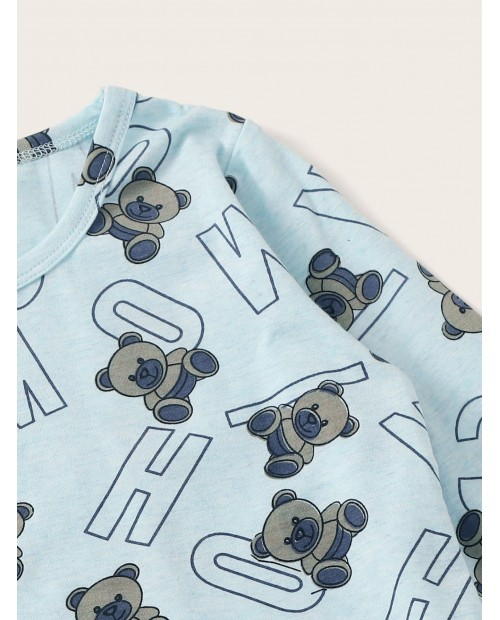 Toddler Boys Bear & Letter Print Pajama Set
